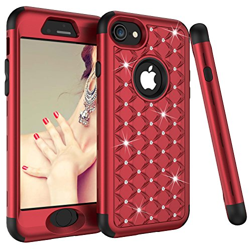 iPhone 8 Case, iPhone 7 Case, Dooge Diamond Studded Bling Rhinestone Shockproof Hybrid Armor Defender Full-body Rugged High Impact Protective Cover for Apple iPhone 7/8 - Red/Black ()