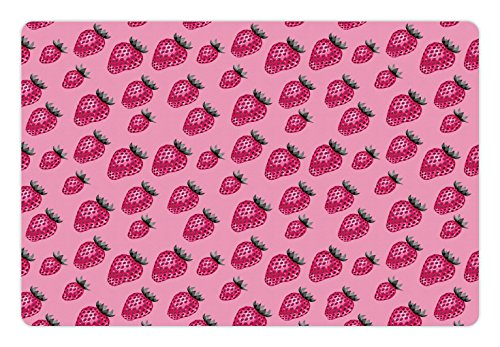 Fruit Pet Mats for Food and Water by Ambesonne, Pop Art Style Strawberry Pattern Vibrant Toned Retro Fresh Fashion Graphic, Rectangle Non-Slip Rubber Mat for Dogs and Cats, Pale Pink Magenta (Pop Pet Art)