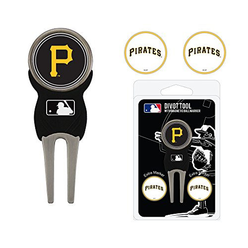 (Team Golf MLB Pittsburgh Pirates Divot Tool with 3 Golf Ball Markers Pack, Markers are Removable Magnetic Double-Sided Enamel)