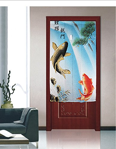 Traditional Chinese Style Double Leaping Fish Pattern Meaning of Success and Progress Door Curtain Japanese Noren Curtain Bedroom Curtain