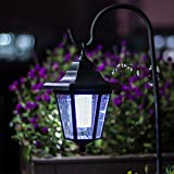 GIGALUMI 26 Inch Solar Lights Outdoor, Hanging solar Coach Lantern with 2 Shepherd Hooks (1 Pack)