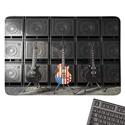 American Flage-Sports Gaming Mouse PadBlack and Us Bass Guitar Electronic Rock Music Digital Graphic WorkNonslip Rubber Base 15.7