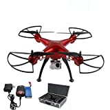 KIMHY Syma X8HG Altitude Hold Headless Mode RC Quadcopter with 8mp Camera 1.0 M Video 6-Axis Gyro in Red + Extra Portable Luxury Aluminum Carrying Case + Extra Battery
