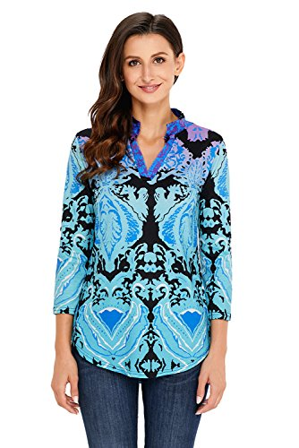 Neuf Turquoise Damas Imprimé Split Tunique à col V Pull Chemisier de soirée pour femme Tenue décontractée d'été Taille UK 16EU 44