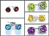 1.20ctw, 5mm Round Genuine Gemstones & Solid .925 Sterling Silver Stud Earrings