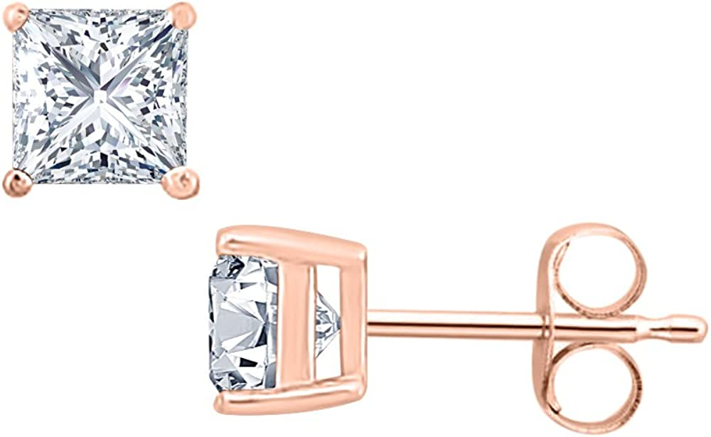 10MM Gold /& Diamonds Jewellery 4.35 CT Princess Cut Diamond Solitaire Stud Earrings 14K Rose Gold Over .925 Sterling Silver