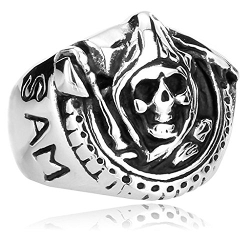 Anazoz Stainless Steel Ring Us Size 8 Sons Of Anarchy Death Skull Men Motorcycle Punk Men
