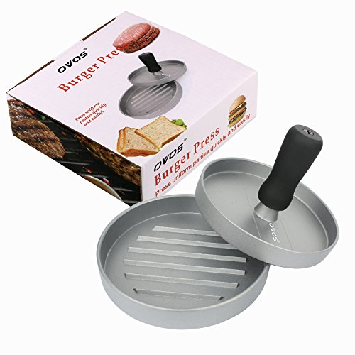 OVOS Aluminum Non-Stick Hamburger Press 50 Free Patty Papers Wood Handle by OVOS (Image #6)'