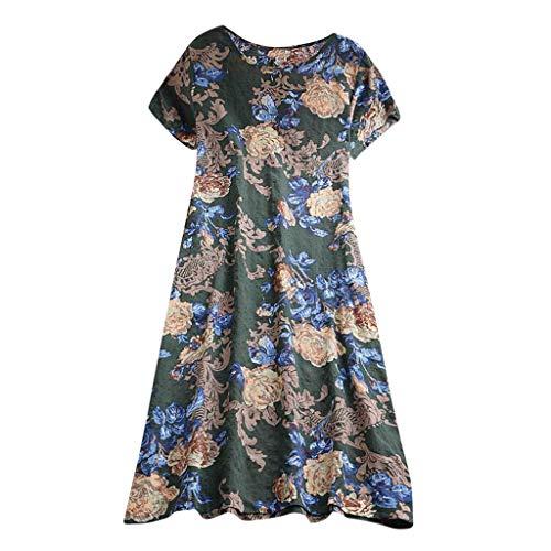 URIBAKE 2019 Womens Round-Neck Floral Vintage Plus Size Breathable Linen Short Sleeve Print Tanic Maxi Dresses Blue