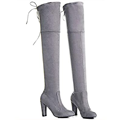 49037da7f13 Image Unavailable. Image not available for. Color  YANWENFANG Women s Over  The Knee Boots Thigh High Stretch Boots Zipper Pointy Toe Chunky Heel Knee