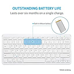 Anker Ultra Compact Slim Profile Wireless Bluetooth Keyboard with Rechargeable Battery [Compatible with New iPad 9.7\