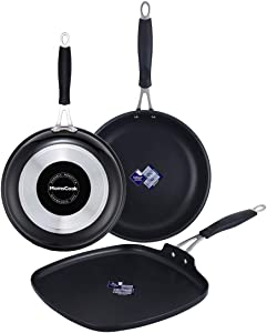 Momscook Frying Pan 3-Piece Classic Brights Hard Enamel Aluminum Nonstick Skillet Griddle Set with Silicone Handles, 8-Inch, 10-Inch and 11-Inch Sautepan Grill Pan, Black