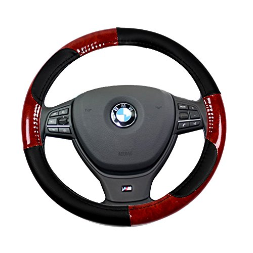 SCITOO Black/Brown Wood Grain Universal 15 Inch Steering Wheel Cover PVC Leather Protection Breathable Auto Steering Wheel Cover Dodge Intrepid Wheel Cover
