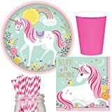 Magical Unicorn Party Supplies Bundle, Plates, Napkins, Cups & Straws for 16 Guests