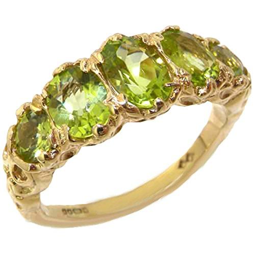 LetsBuyGold 14k Yellow Gold Real Genuine Peridot Womens Band Ring - Size 11 (Gold Peridot Gemstone Ring)