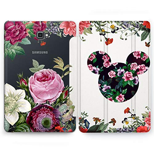 Wonder Wild Floral Disney Samsung Galaxy Tab S4 S2 S3 A E Smart Stand Case 2015 2016 2017 2018 Tablet Cover 8 9.6 9.7 10 10.1 10.5 Inch Clear Design Disney Mickey Minnie Cartoon Mouse Floral Flowers ()