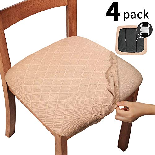 Gute Chair Seat Covers with Elastic Ties and Button, Stretch Jacquard Dining Room Chair Upholstered Cushion Cover, Removable Office Computer Chair Seat Protectors – Set of 4, Rhombic, Camel