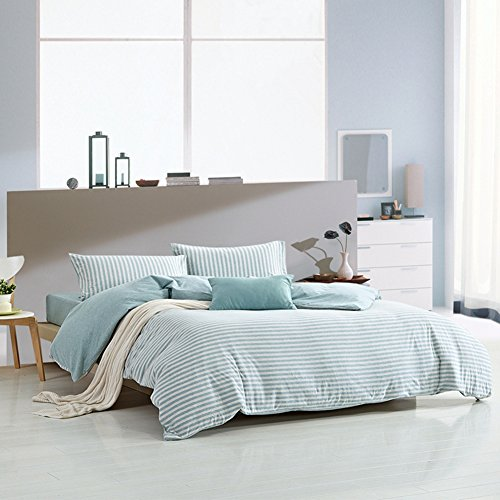 PURE ERA Ultra-Soft Comfy Jersey Knit Cotton Home Bedding Sets Stripe Duvet Cover Sets Mint Grey King Size (Coverlet Bedding Sets Clearance)