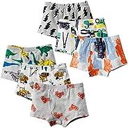 Little Boys Toddler Cotton Soft Dinosaur Car Briefs Underwear Pack of 5