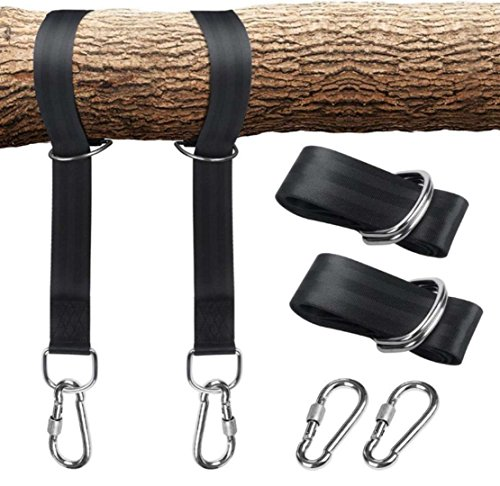 GadgetMarket Tree Swing Hanging Carabiner Straps Kit Holds 2000 lbs & Patio Hammocks, Perfect For Swings, 5ft Extra Long Straps Strap with Safer Lock Snap Hooks Carry Pouch