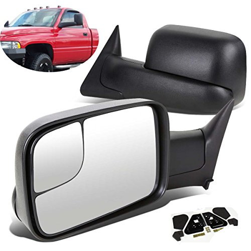 SCITOO Driver and Passenger Manual Side Tow Mirrors 7x10 Flip-Up with Mounting Brackets Replacement for Dodge Pickup Truck 55156335AD 55156334AD