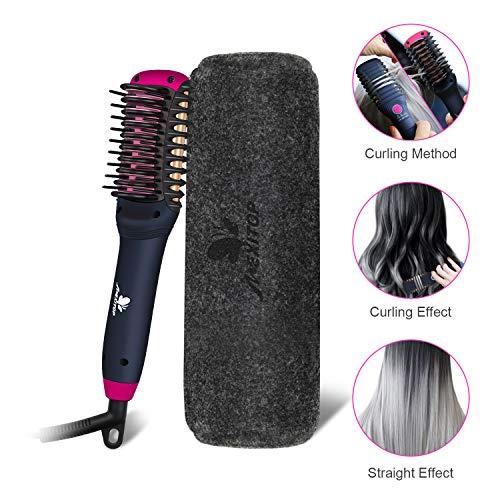 Hair Straightener Curler, Beard Straightener for Men - Mexitop 2 in 1 Hair Straightening/Curling Salon Tool, Lightweight, Dual Voltage, Bonus Glove/Clips/Woolly Cosmetic Bag ($25 Value), Metallic Red