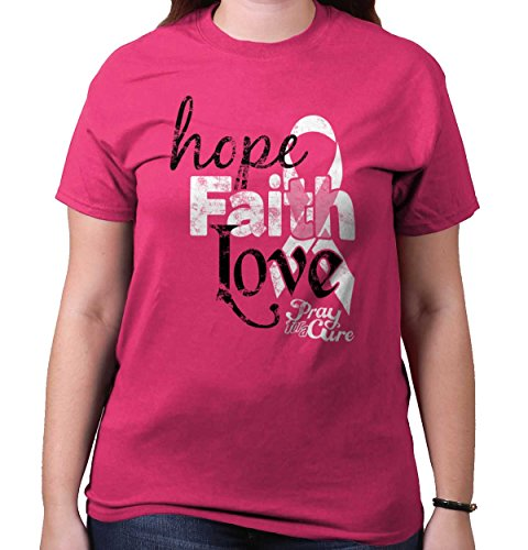 Faith Pink Ribbon (Breast Cancer Awareness Ribbon Shirt | Hope Faith Love Strong T-Shirt Tee)