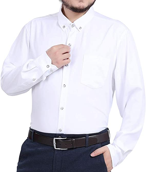 Jeopace Big and Tall Men's White Dress Shirts Long Sleeve Button ...
