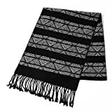 CUDDLE DREAMS Silk Scarves for Spring Winter, Brushed Silk Viscose Blended, Super Soft- FINAL CLEARANCE SALE (Black White Stripe Design)