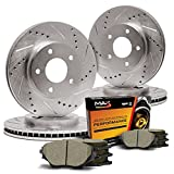 Max KT091133 Front + Rear Premium Slotted & Drilled Rotors and Ceramic Pads Combo Brake Kit (WILL NOT FIT DODGE STRATUS SEDAN)