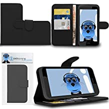 Black HTC Desire 320 Case Durable PU Leather Book Style Wallet Cover with Credit / Business Card Holder and Horizontal Viewing Stand