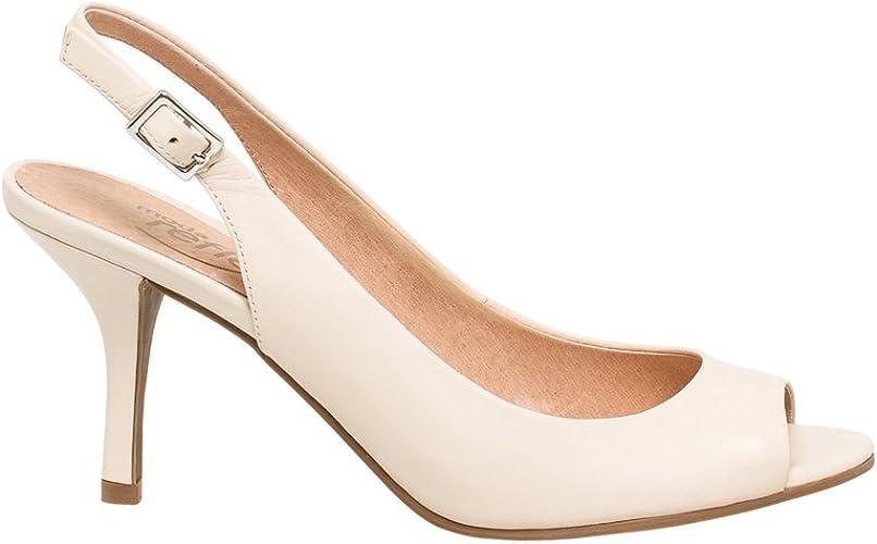 Leather Peep Toe Slingback Sandal