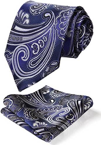 HISDERN Men's Classic Tie 3.4'' Necktie and Pocket Square Set Blue / White