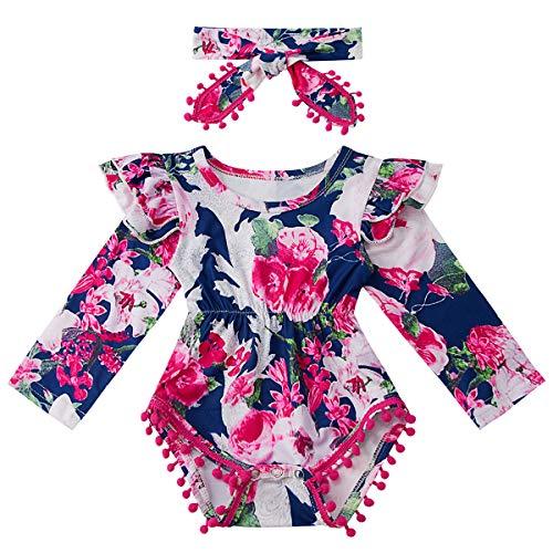 Kids4ever Infant Baby Girl Sunflower Printed Romper Toddler Ruffles Long Sleeve Bodysuit with Headband