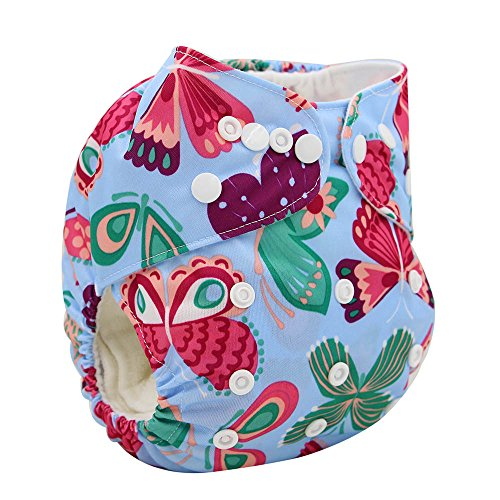 Ohbabyka Reusable Baby Diapers Washable Character Pattern Nappy Cover, Fit for 0-3 Yr,Colorful butterfly