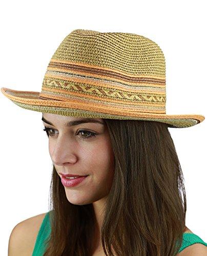 C.C Multicolored Metallic Gold Weaved Band and Brim Fedora Panama Sun Hat, Orange (Metallic Fedora Hat)