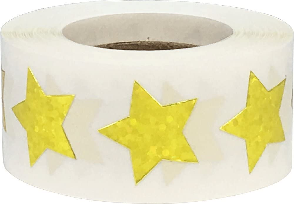 Yellow Holographic Sparkle Star Shape Stickers Teacher Supplies 3/4 Inch 500 Adhesive Labels