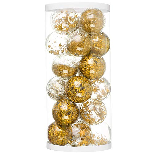 ChristmasEXP 24ct 80mm/3.15 Christmas Ball Glazed Shatterproof Plastic Christmas Decoration Stuffed Delicate Glittering Ornaments Holiday Xmas Party Decoration Tree Ornaments(Gold)