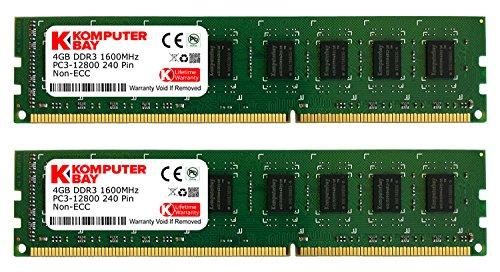 Komputerbay 8GB (2 X 4GB) DDR3 DIMM (240 pin) 1600Mhz PC3 12800 8 GB KIT (Dimm Dual Channel Kit Memory)