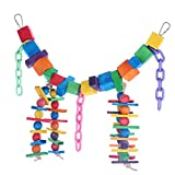Pure Natural Colorful Wood Parrot Toys, Bvanki18.5 inch L 8.5 inch W Parrot Soft Swing Toy & Rainbow Bridge (Medium).