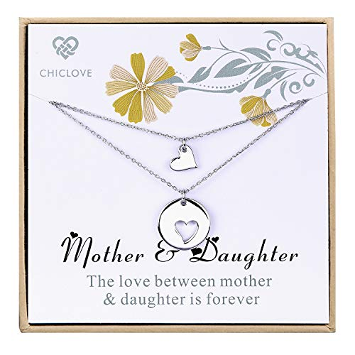 CHICLOVE Mother Daughter Jewelry Sets for Two, Cutout Heart Necklaces, 2 Sterling Silver Necklaces (A - Mother and Daughter Necklace)