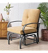 Outdoor Patio Glider Chair with Cushions - Aoxun Single Porch Patio Furniture Glider, Wrought Iro...