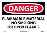 NMC D117PB OSHA Sign, ''DANGER FLAMMABLE MATERIAL NO SMOKING OR OPEN FLAMES'', 14'' Width x 10'' Height, Pressure Sensitive Vinyl, Black/Red On White