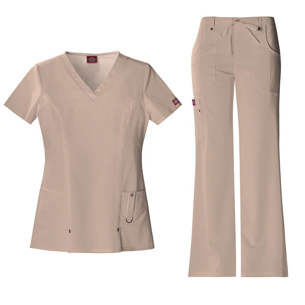 Dickies Xtreme Stretch Women's 82851 V-Neck Top & 82011 Drawstring Pant Medical Uniform Scrub Set (Khaki - Medium)