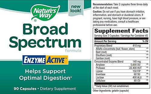 Natures Way Broad Spectrum Food Enzymes - 90 capsules, 8 Pack