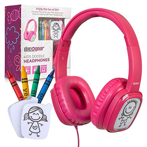 (Deco Gear Kids Doodle Coloring Headphones Over-Ear Foldable with Children's Safe Ears Volume Limiter Includes Bonus Crayons (Pink) )