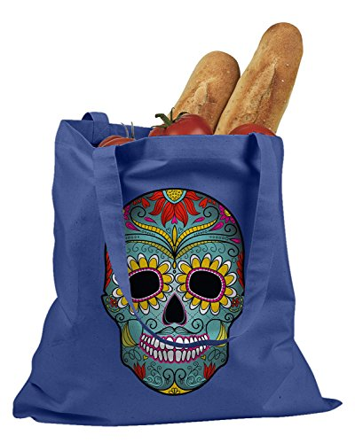 The T-shirt Press Day Of The Dead Mexican Mask Tote Bag (Royal Blue) (Mexican Day Of The Dead Mask)