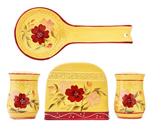 Tuscan Collection English Garden Deluxe Hand-Painted Ceramic Table Top Set, 84625/28 by ACK (Tuscan Garden Collection)
