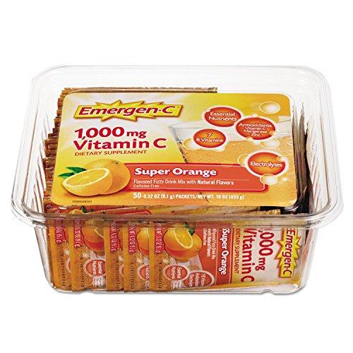 Emergen-C 130279 Immune Defense Drink Mix, Super Orange.3oz Packet, (50 Mix Packets)