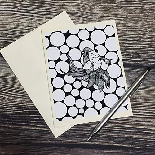 Bug Eyed Fish - Goldfish Inspired Ink Drawing Art Print - Ivory Note Card -